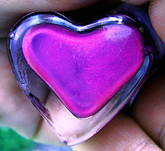 I Heart Flickr Pink Purple Nail Polish in Heart Bottle Creative Commons